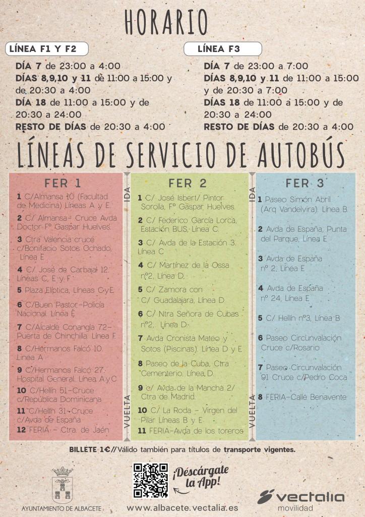 Horarios líneas Feria Albacete 2016